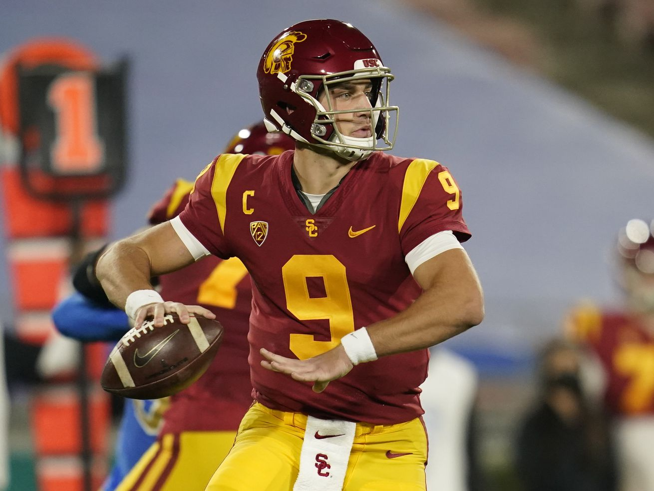 Southern California quarterback Kedon Slovis throws a pass during a game against UCLA Saturday, Dec 12, 2020, in Pasadena.