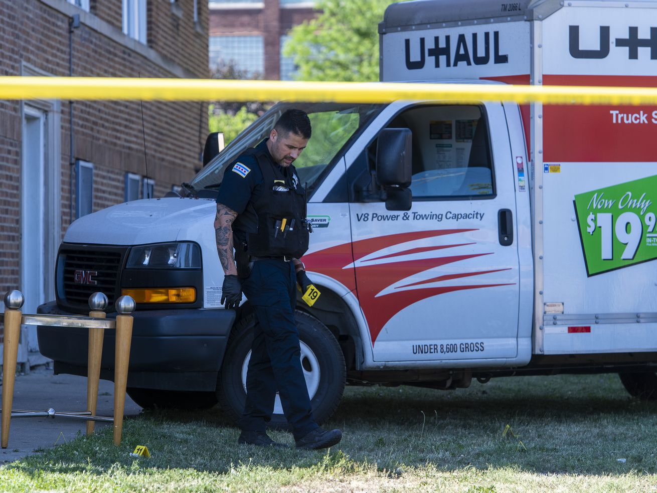 Chicago police work the scene where a 14-year-old by was shot and killed in the 1100 block of South Karlov Ave, in the Lawndale neighborhood, Thursday, June 10, 2021.