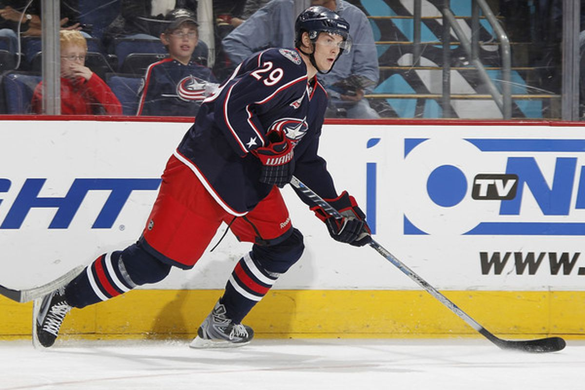 COLUMBUS OH - OCTOBER 20: Nick Holden #29 of the Columbus Blue Jackets skates with the puck while playing the Anaheim Ducks on October 20 2010 at Nationwide Arena in Columbus Ohio. Columbus won the game 3-1.  (Photo by Gregory Shamus/Getty Images)