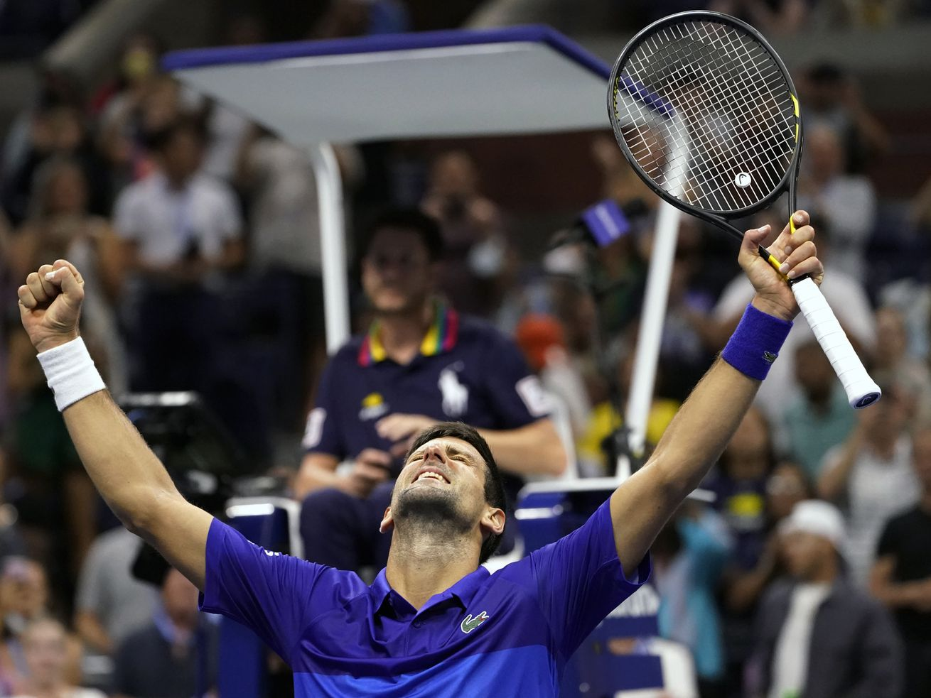 Novak Djokovic, of Serbia, reacts after beating Jenson Brooksby, of the United States, during the fourth round of the U.S. Open.