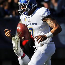 Brigham Young Cougars defensive lineman Khyiris Tonga causes San Jose State Spartans quarterback Montel Aaron to fumble the ball during NCAA football in Provo on Saturday, Oct. 28, 2017.