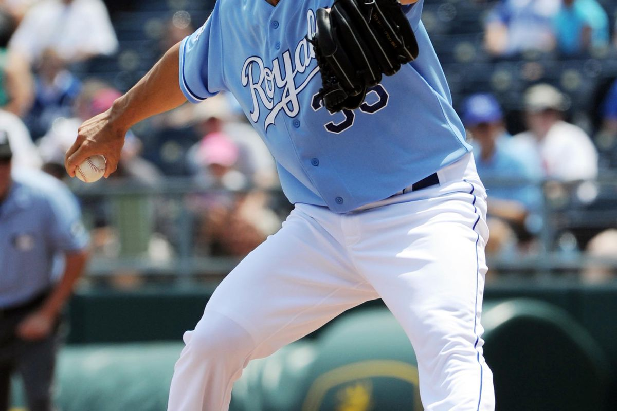 July 22, 2012; Kansas City, MO, USA; Kansas City Royals pitcher Jeremy Guthrie (33) delivers a pitch against the Minnesota Twins during the first inning at Kauffman Stadium.  Mandatory Credit: Peter G. Aiken-US PRESSWIRE