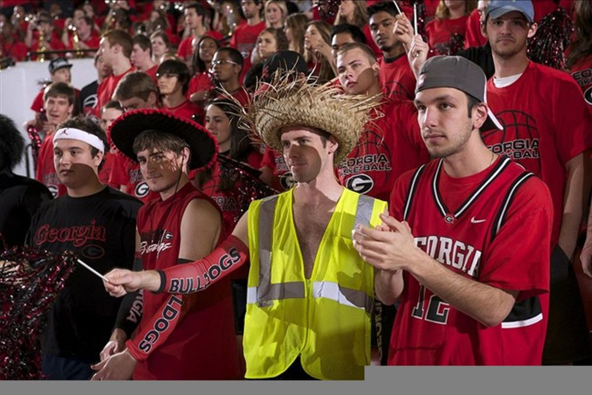 February 25, 2012; Athens, GA, USA; Georgia Bulldogs fans shown during the game against the Florida Gators   during the second half at Stegeman Coliseum. Georgia defeated Florida 76-62. Mandatory Credit: Dale Zanine-US PRESSWIRE