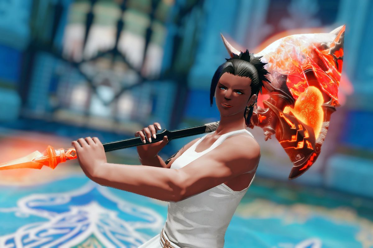 A female roegadyn holds up the Blade's Axe