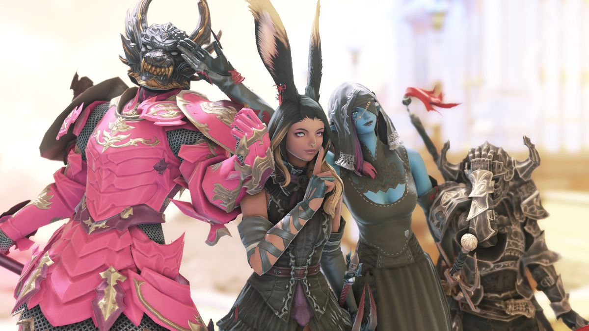 A collection of armored Final Fantasy 14 characters stand together in a flashy golden environment