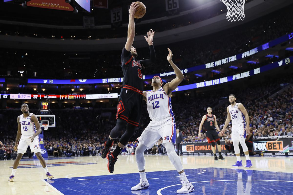 The Bulls' Zach LaVine goes up for a shot against the 76ers on Sunday.