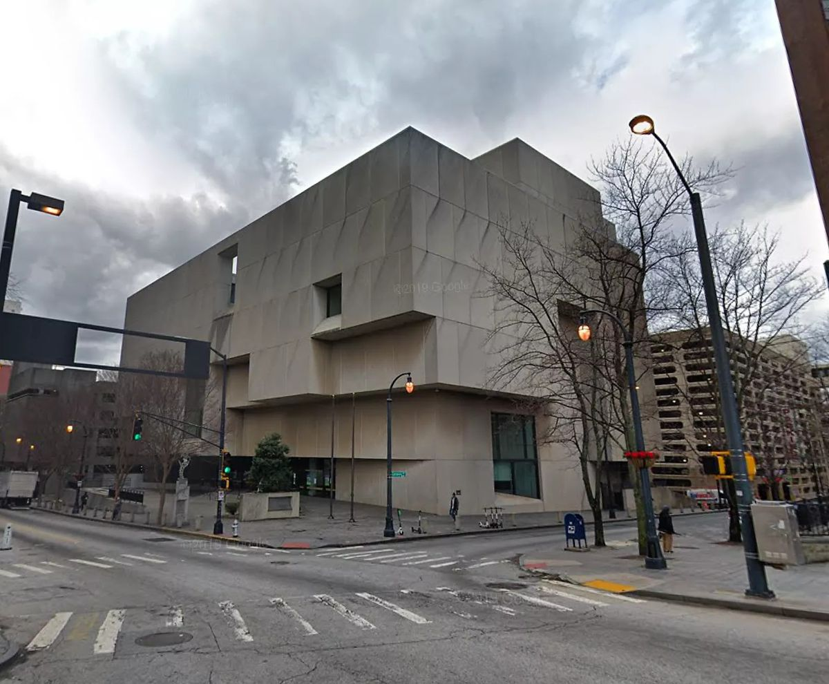 The hulking Brutalist library, before construction began.