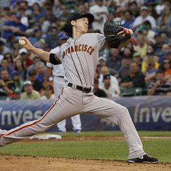 San Francisco Giants starting pitcher Tim Lincecum delivers during the first inning of a baseball game against the San Francisco Giants Saturday, Sept. 1 2012, in Chicago.