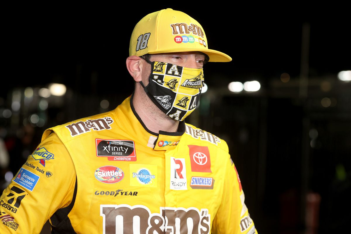 Kyle Busch, driver of the #54 App State Class of 2020 Toyota, celebrates after winning the NASCAR Xfinity Series Alsco 300 at Charlotte Motor Speedway on May 25, 2020 in Concord, North Carolina.