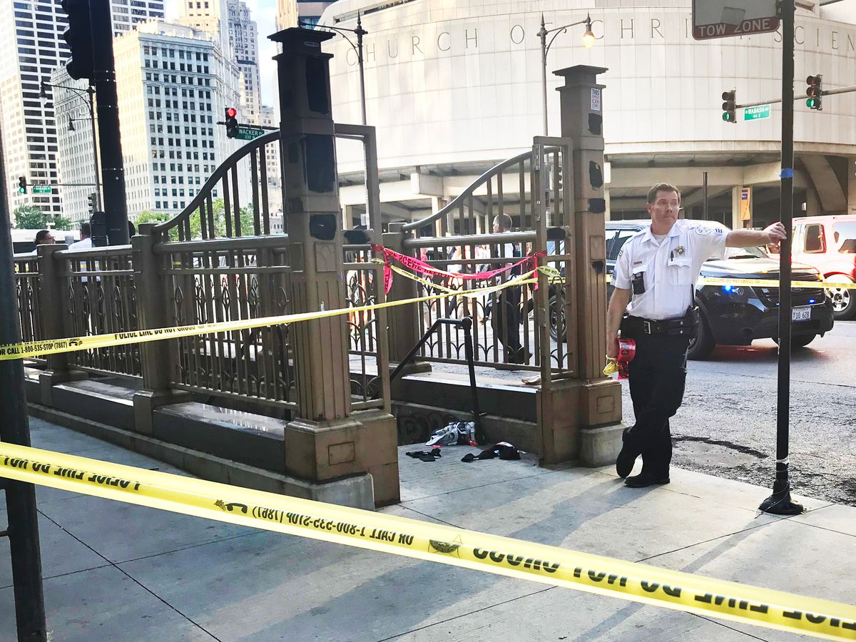 A 14-year-old boy was shot Friday on the southwest corner of Wabash Avenue and Wacker Drive. | Matthew Hendrickson/Sun-Times