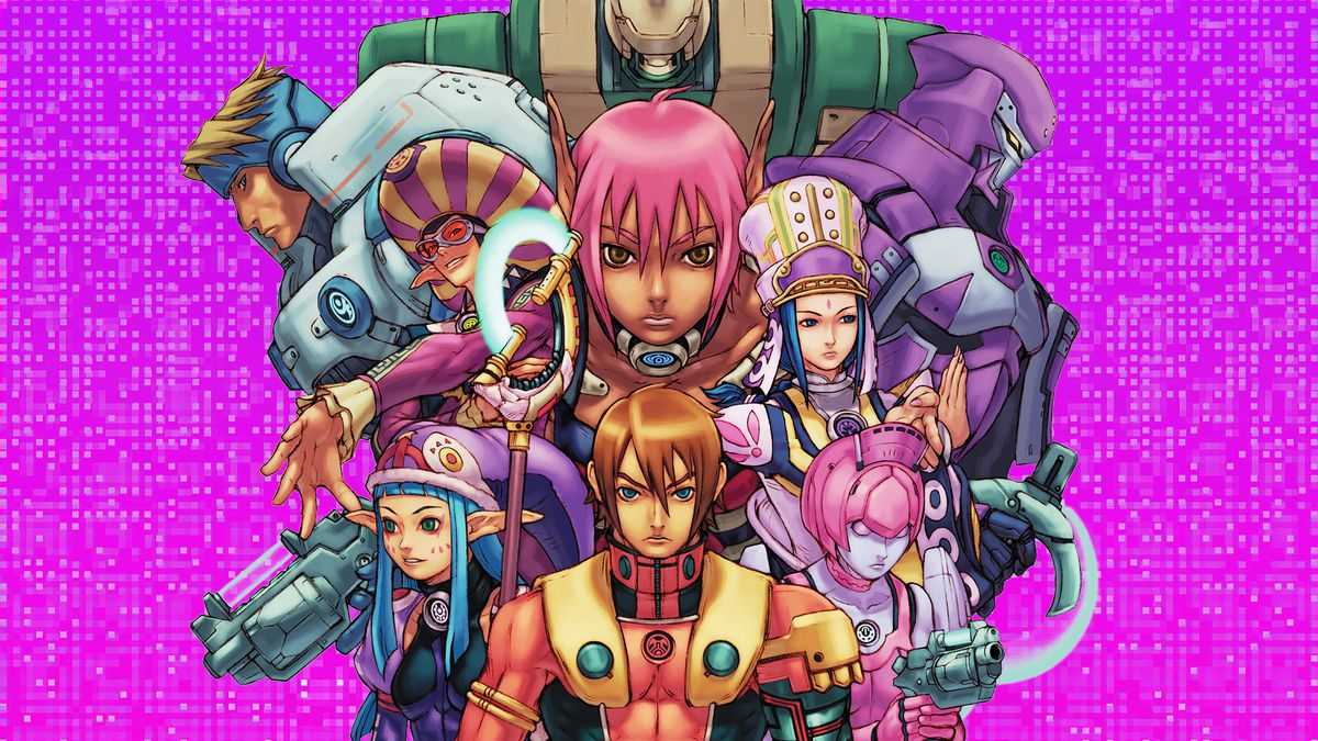 Graphic artwork featuring a montage of characters from the video game Phantasy Star Online over a bright magenta pixelated background