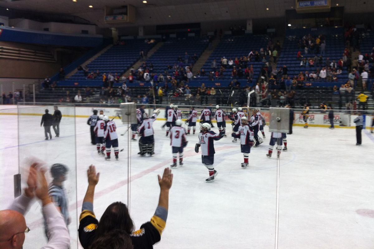 Arizona Wildcats saluting fans
