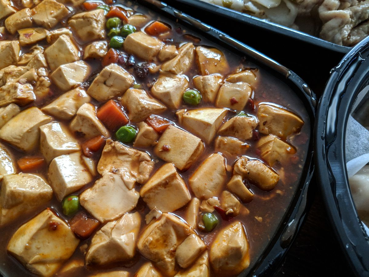 Ma po tofu, delivered from Dumpling Kitchen