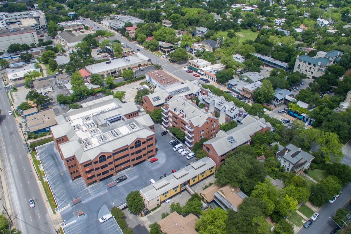 Overhead photo of a block of office buildings