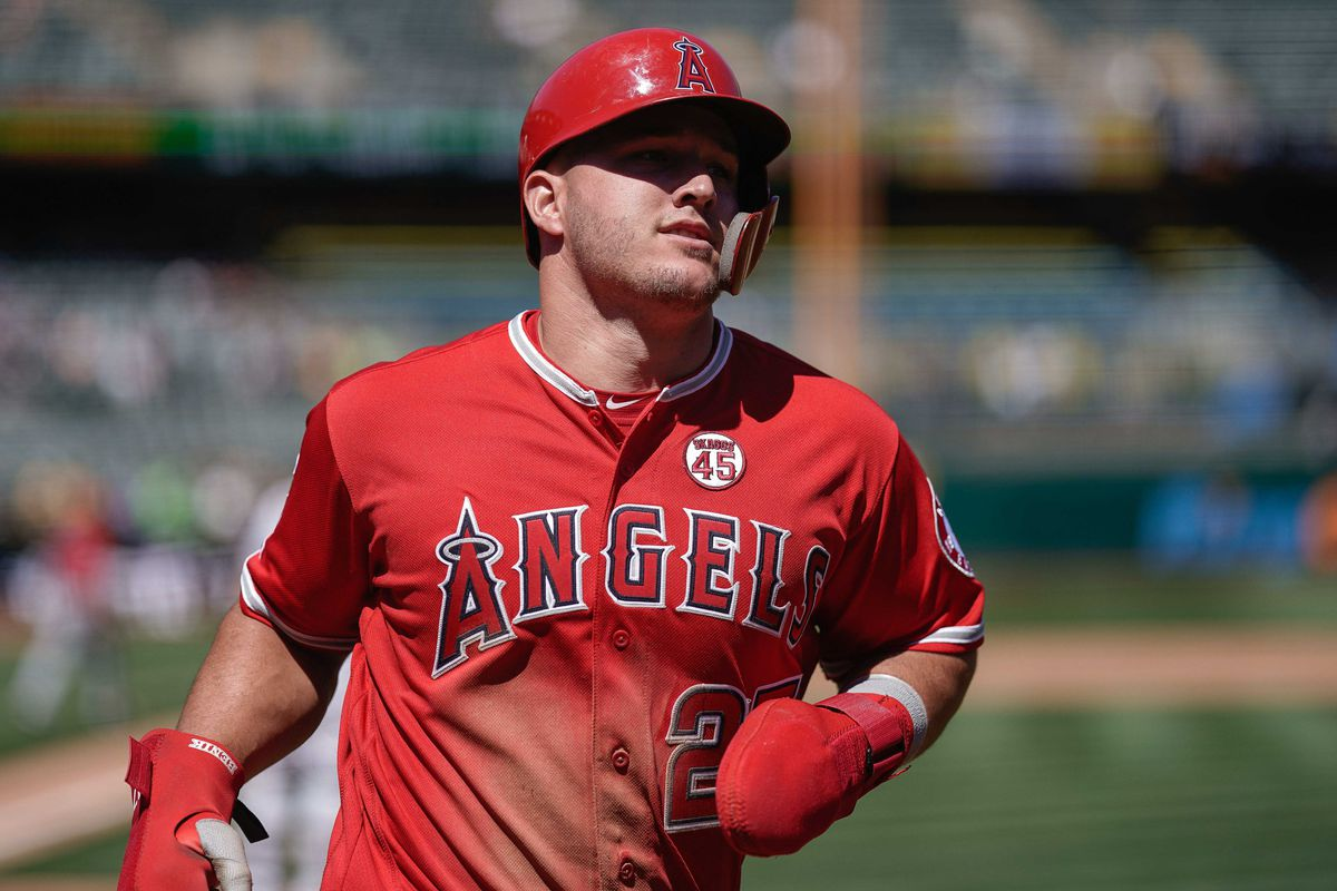 Los Angeles Angels center fielder Mike Trout during the fifth inning against the Oakland Athletics at the Oakland Coliseum.
