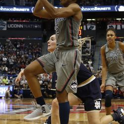 UConn's Crystal Dangerfield (5) goes in for a layup during the Notre Dame Fighting Irish vs UConn Huskies women's college basketball game in the Women's Jimmy V Classic at the XL Center in Hartford, CT on December 3, 2017.