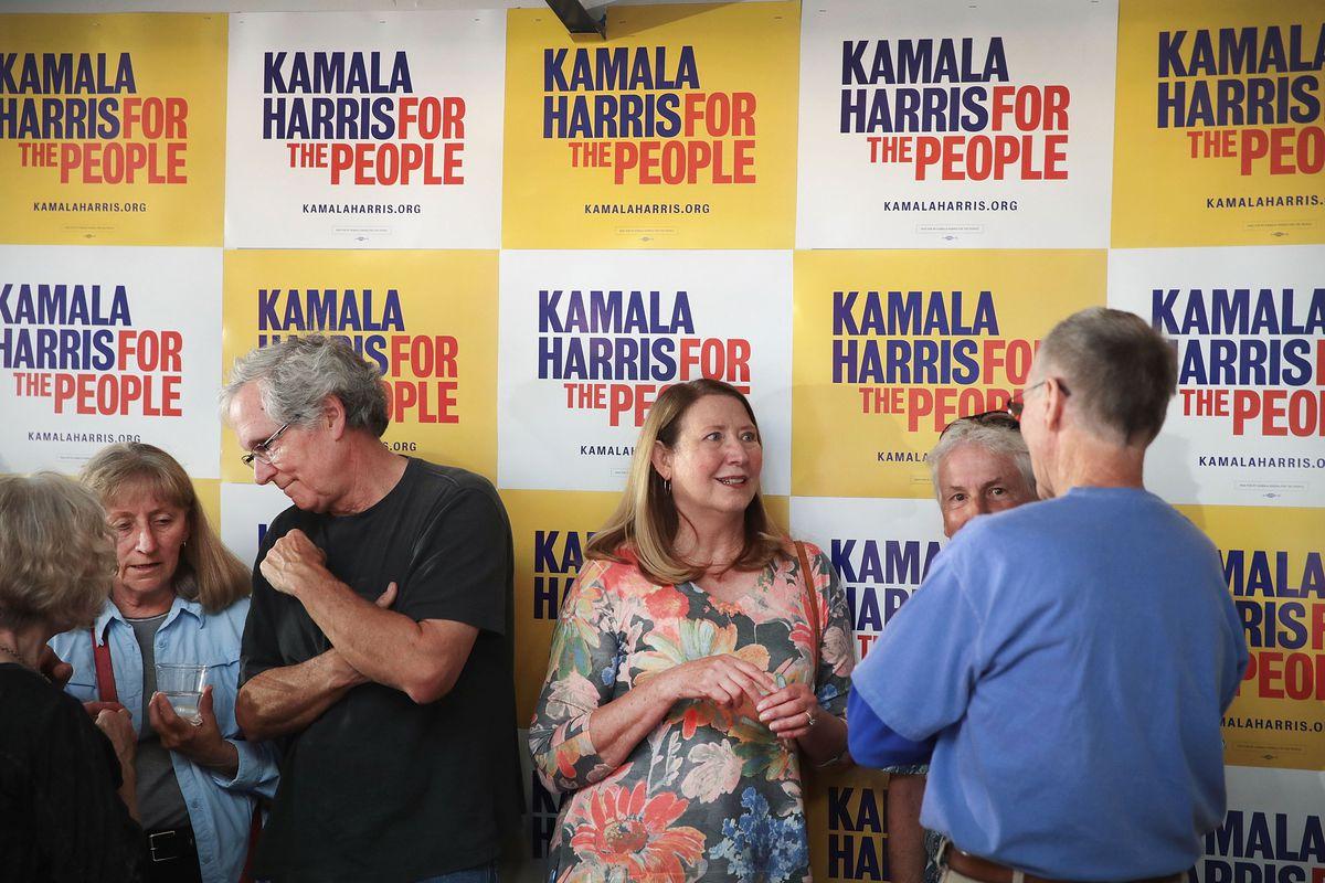 Presidential Candidate Kamala Harris Campaigns In Dubuque, Iowa