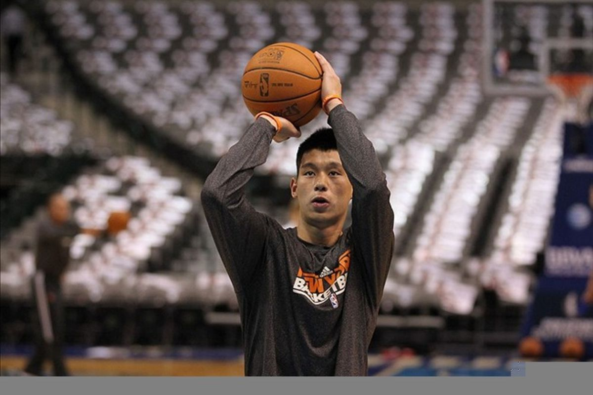 Mar 6, 2012; Dallas, TX, USA; New York Knicks guard Jeremy Lin (17) shoots prior to the game against the Dallas Mavericks at American Airlines Center.  Mandatory Credit: Matthew Emmons-US PRESSWIRE