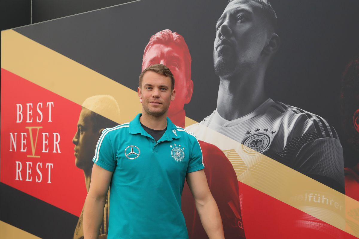 EPPAN, ITALY - JUNE 04: Manuel Neuer arrives for a press conference of the German national team at Sportanlage Rungg on day thirteen of the Southern Tyrol Training Camp on June 4, 2018 in Eppan, Italy.