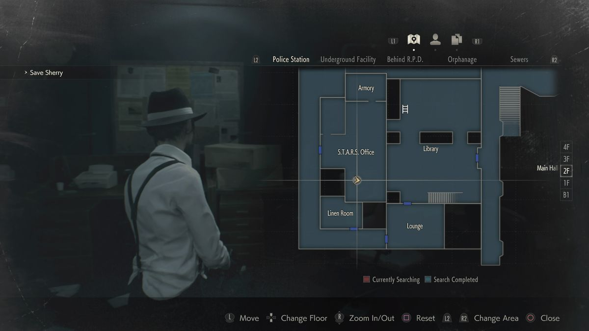 Resident Evil 2 Mr. Raccoon STARS Office location map