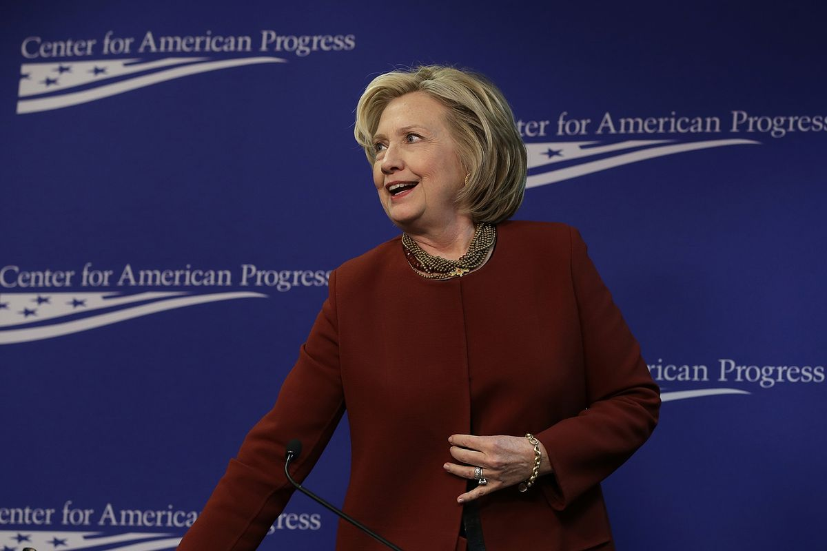 Former US Secretary of State Hillary Clinton departs after speaking at the Center for American Progress March 23.