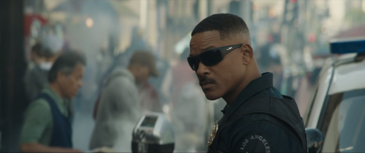 Bright - Will Smith in sunglasses by cop car