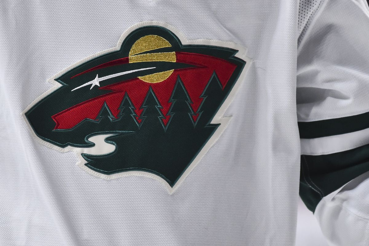 A detail of the Minnesota Wild logo is seen during the first period against the Montreal Canadiens at the Bell Centre on October 17, 2019 in Montreal, Canada.
