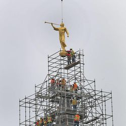 Workers place an Angel Moroni statue atop the Provo City Center Temple as thousands of people watch Monday, March 31, 2014, in Provo.