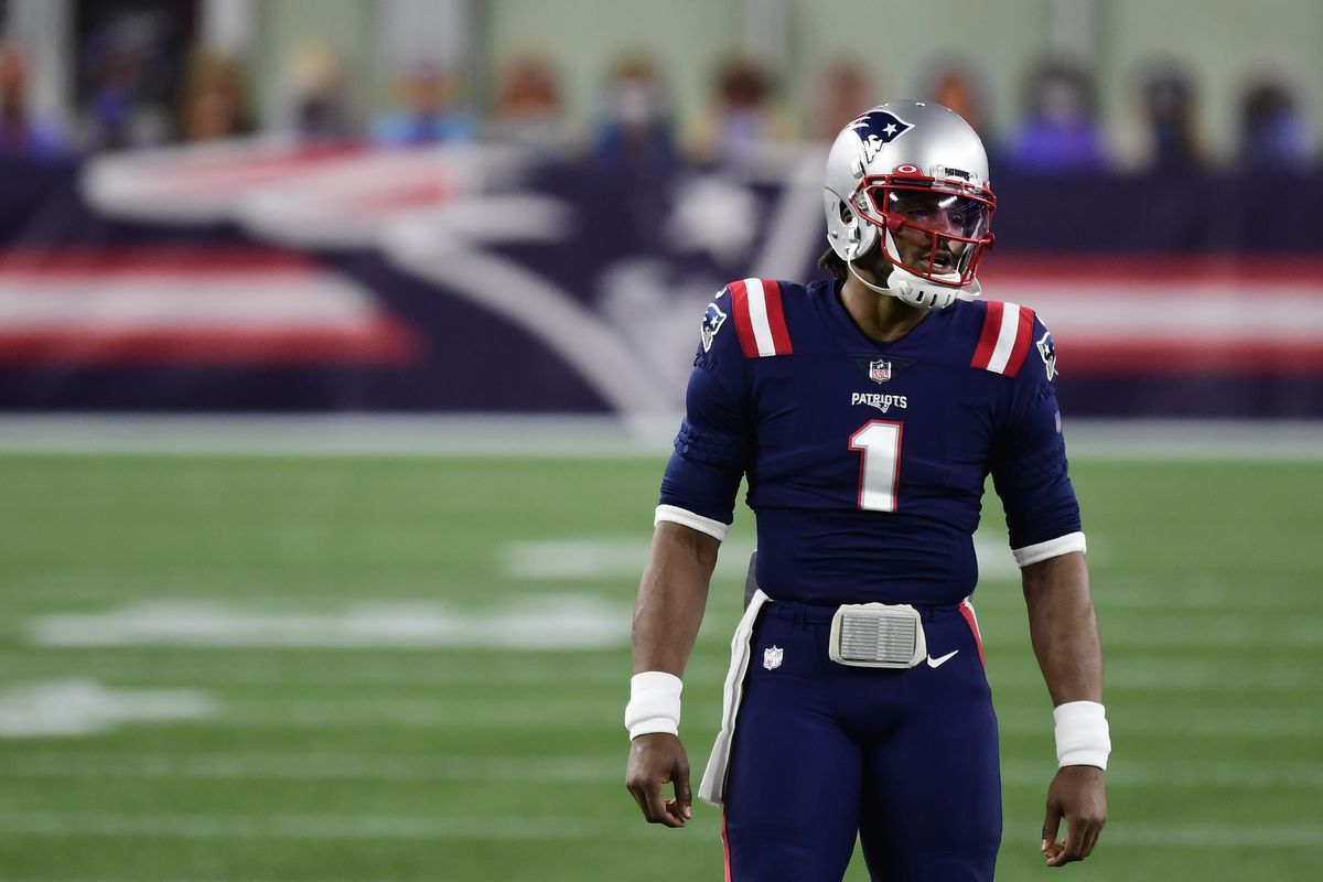 Cam Newton #1 of the New England Patriots warms up before a game against the Buffalo Bills at Gillette Stadium on December 28, 2020 in Foxborough, Massachusetts.
