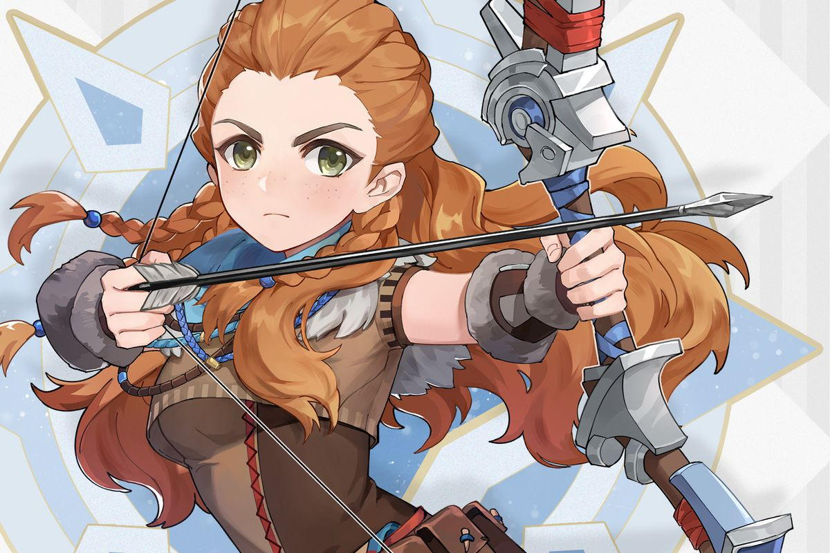 promotional material featuring Aloy from Horizon Zero Dawn done in the art style of Genshin Impact