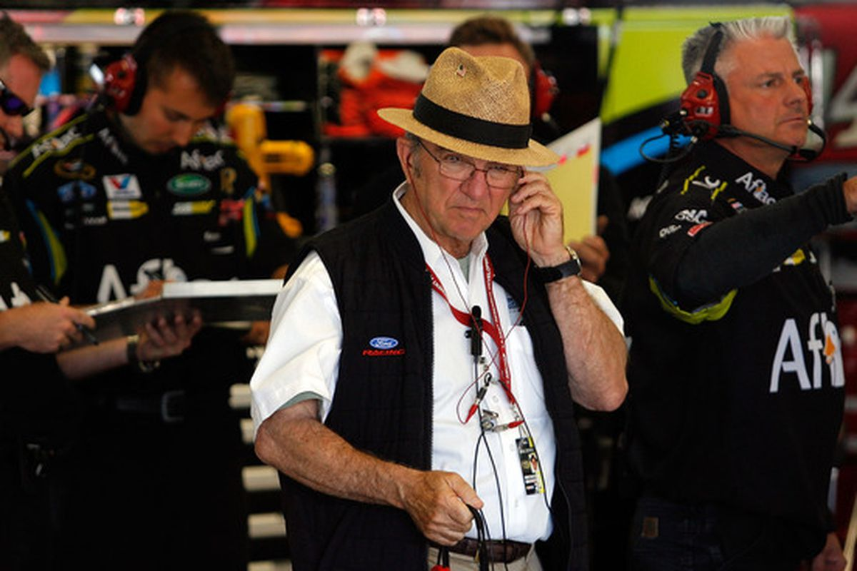 SONOMA, CA - JUNE 18:  Team owner Jack Roush stands in the garage during practice for the NASCAR Sprint Cup Series Toyota/Save Mart 350 at the Infineon Raceway on June 18, 2010 in Sonoma, California.  (Photo by Tom Pennington/Getty Images for NASCAR)