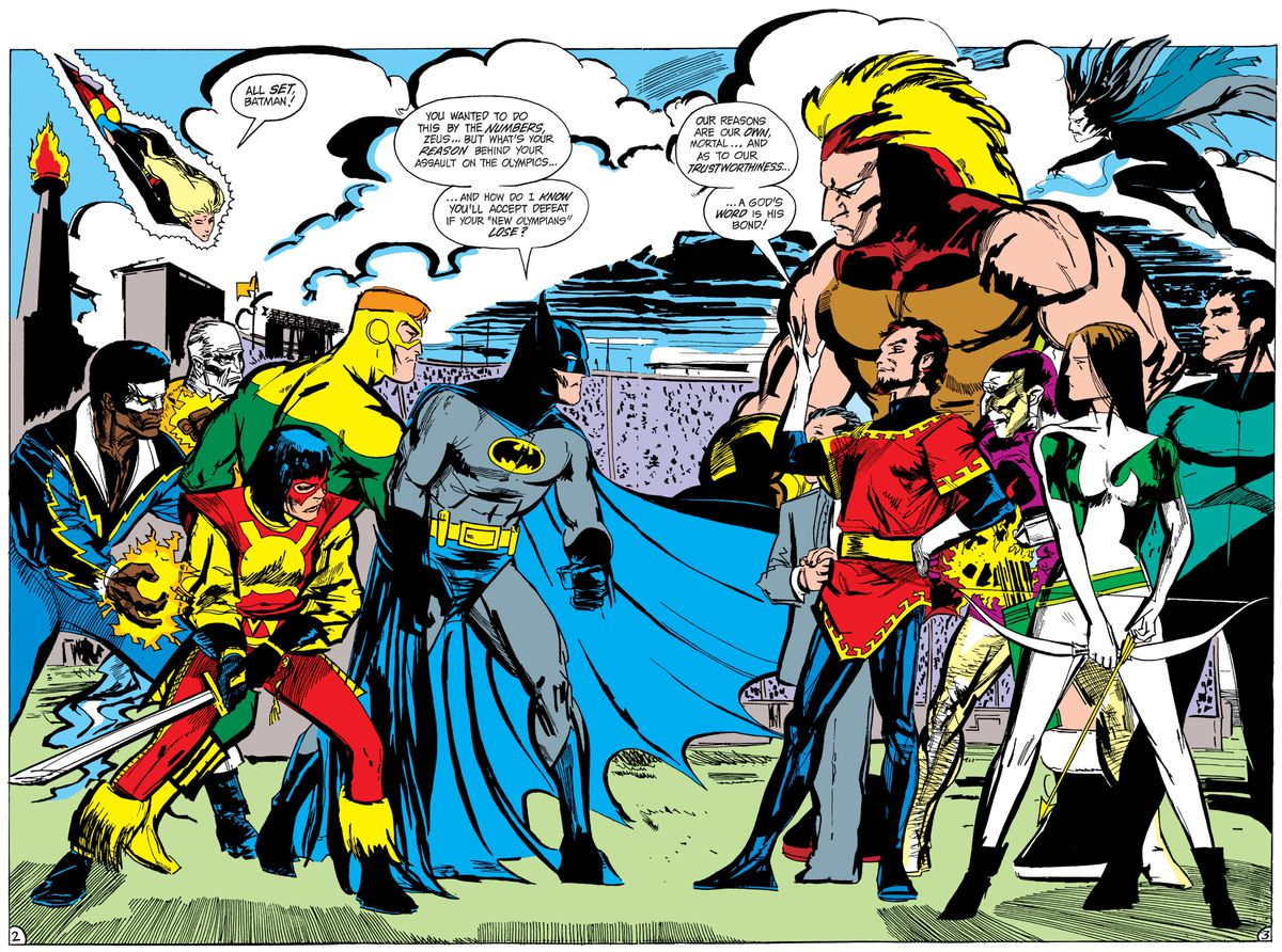 Batman and the Outsiders face off against Maxie Zeus and his New Olympians in Batman and the Outsiders #15, DC Comics (1984).