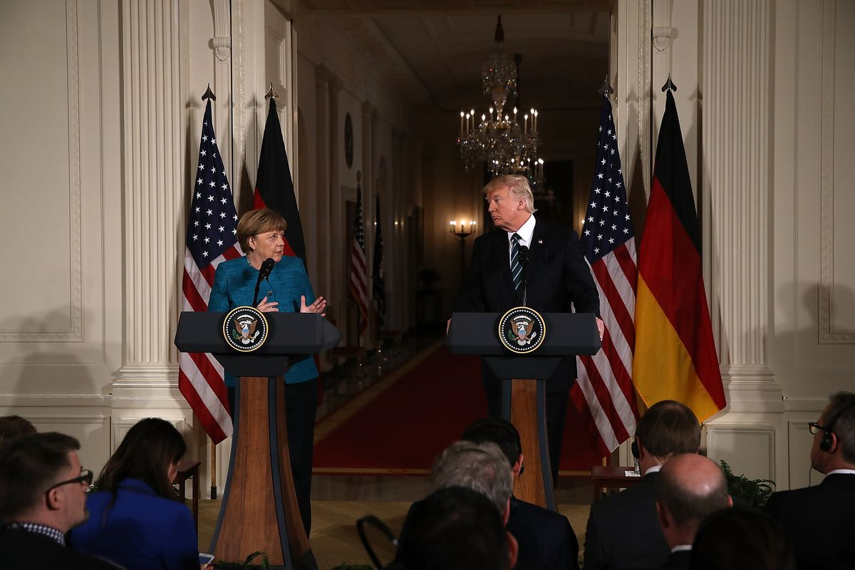President Donald Trump holds a joint press conference with German Chancellor Angela Merkel