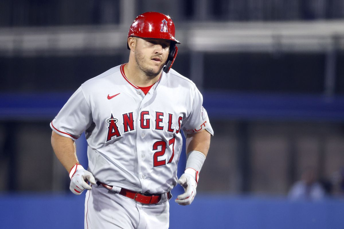 Los Angeles Angels center fielder Mike Trout hits a home run during the second inning against the Toronto Blue Jays at TD Ballpark.