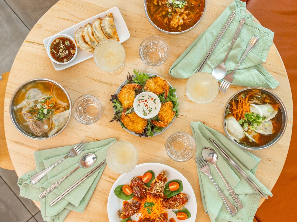 round table with korean dishes