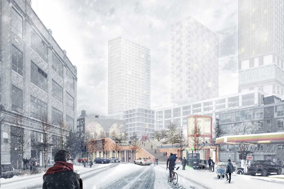A rendering of snow-covered streets with high-rise buildings in the background.