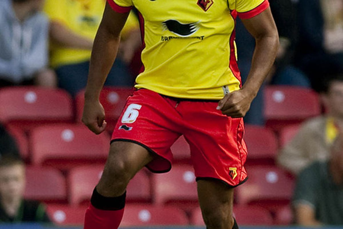 WATFORD, ENGLAND - AUGUST 28: Adrian Mariappa of Watford in action during the npower Championship match between Watford and Birmingham City at Vicarage Road on August 28, 2011 in Watford, England.  (Photo by Ben Hoskins/Getty Images)