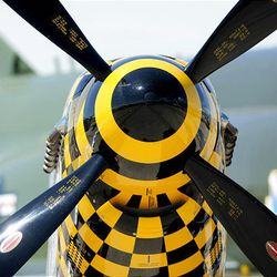 The nose of a P-51 Mustang is shown as thousands turn out for the Hill Air Force Base air show  Saturday.