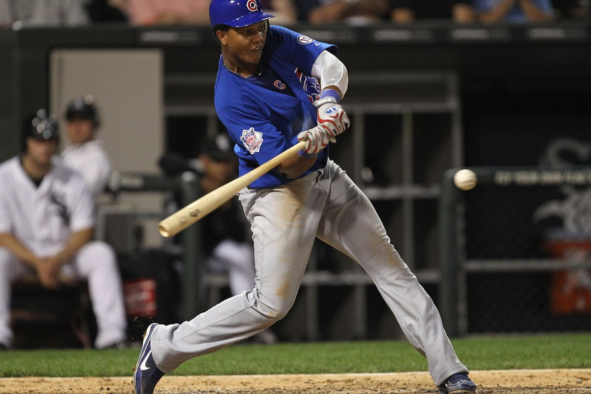 Starlin Castro of the Chicago Cubs takes a swing against the Chicago White Sox at U.S. Cellular Field on June 20, 2011 in Chicago, Illinois. The Cubs defeated the White Sox 6-3. (Photo by Jonathan Daniel/Getty Images)