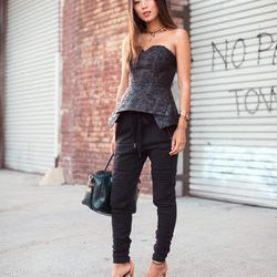 """Aimee of <a href=""""http://www.songofstyle.com""""target=""""_blank"""">Song of Style</a> is wearing a Keepsake top, <a href=""""http://www.neimanmarcus.com/p/31-Phillip-Lim-Leather-Shrunken-Quilted-Biker-Jacket-Beaded-Neckline-Sheer-Back-Silk-Tee-Stitched-Panel-Track-"""