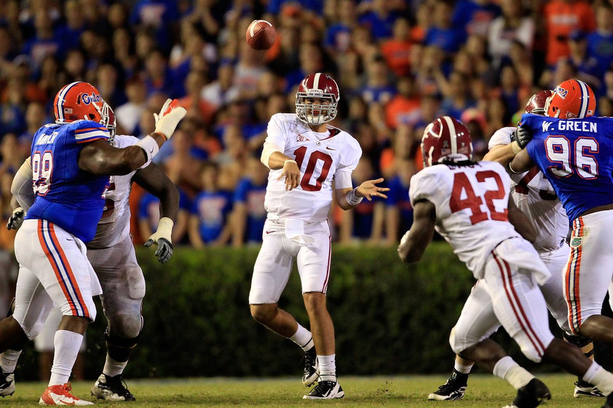 GAINESVILLE, FL - OCTOBER 01:  AJ McCarron #10 of the Alabama Crimson Tide attempts a pass during a game against the Florida Gators at Ben Hill Griffin Stadium on October 1, 2011 in Gainesville, Florida.  (Photo by Sam Greenwood/Getty Images)