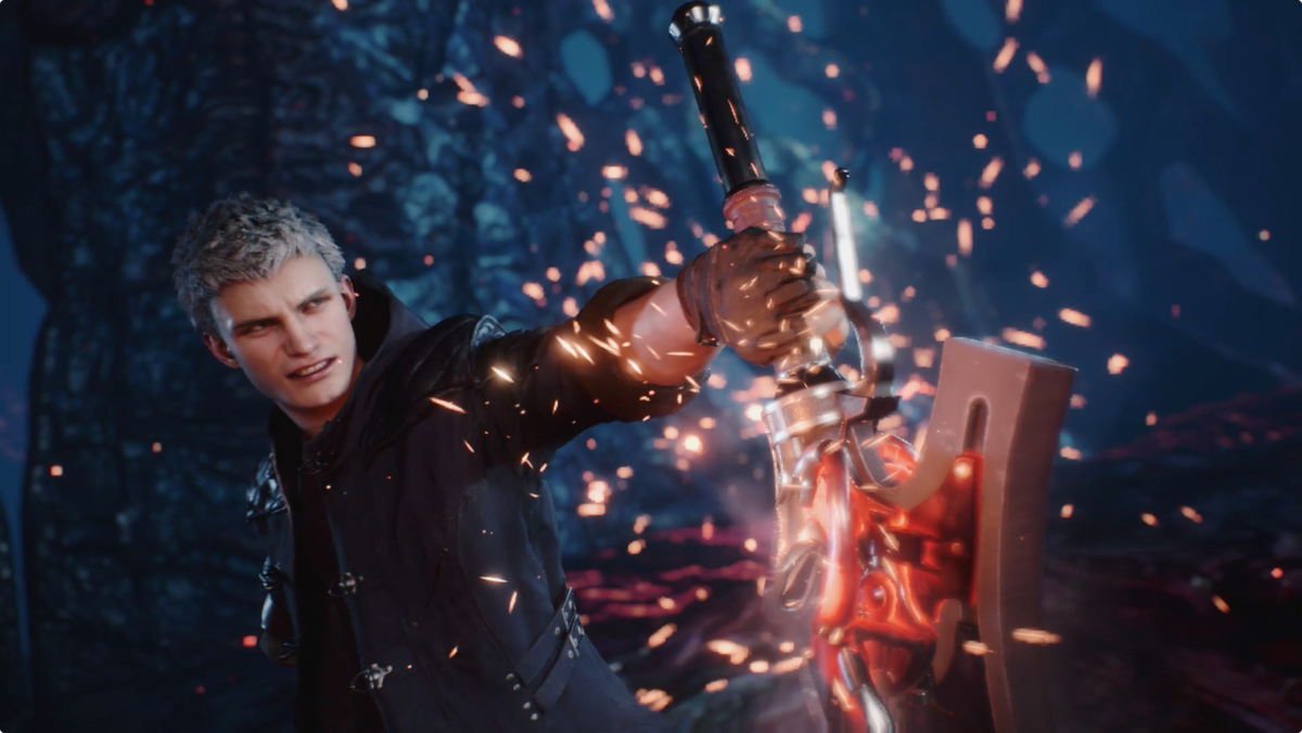 Devil May Cry 5 - Nero holding his sword, the Red Queen