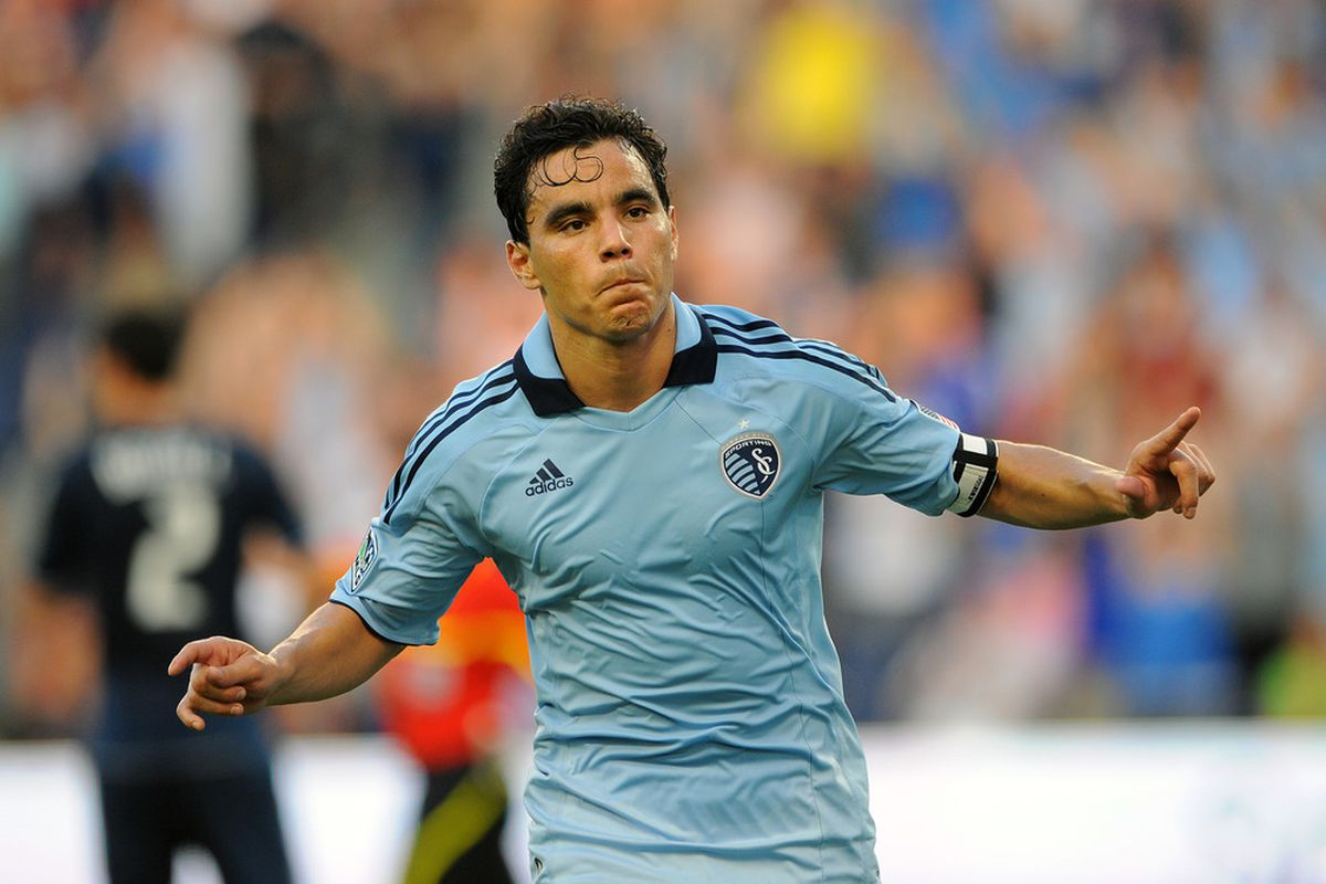 Omar Bravo will face his former club, Chivas Guadalajara on Wednesday night at LIVESTRONG Sporting Park. (Photo by G. Newman Lowrance/Getty Images)