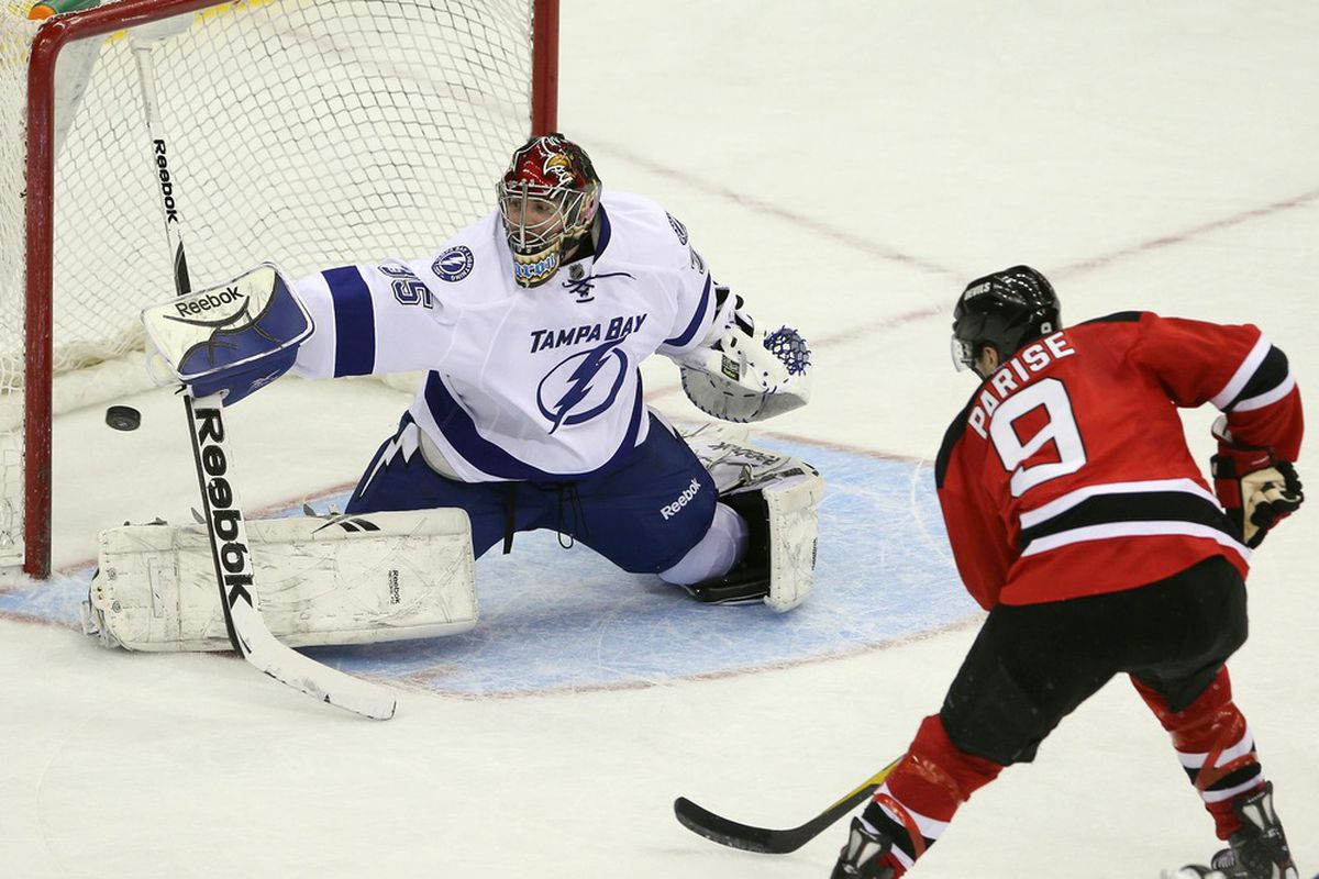 I want to see the Devils get shots like this one against Tampa Bay tonight: on net & up close.  It would be nice if some of them went in, too.    Mandatory Credit: Ed Mulholland-US PRESSWIRE