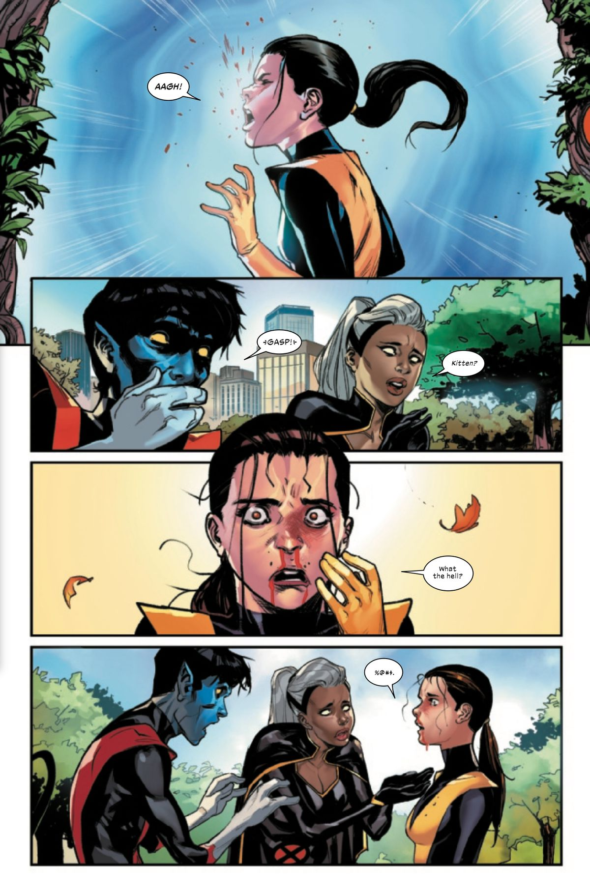 Kate Pryde smacks into a Krakoan portal so hard she bloodies her nose. Nightcrawler and Storm look on in horror, in Marauders #1, Marvel Comics (2019).