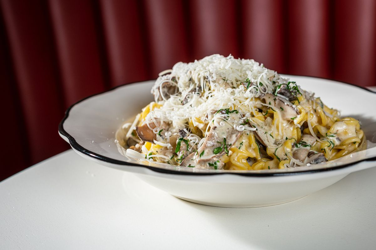 Curuso's Alfredo get lightened up with mushrooms cooked down in marsala wine