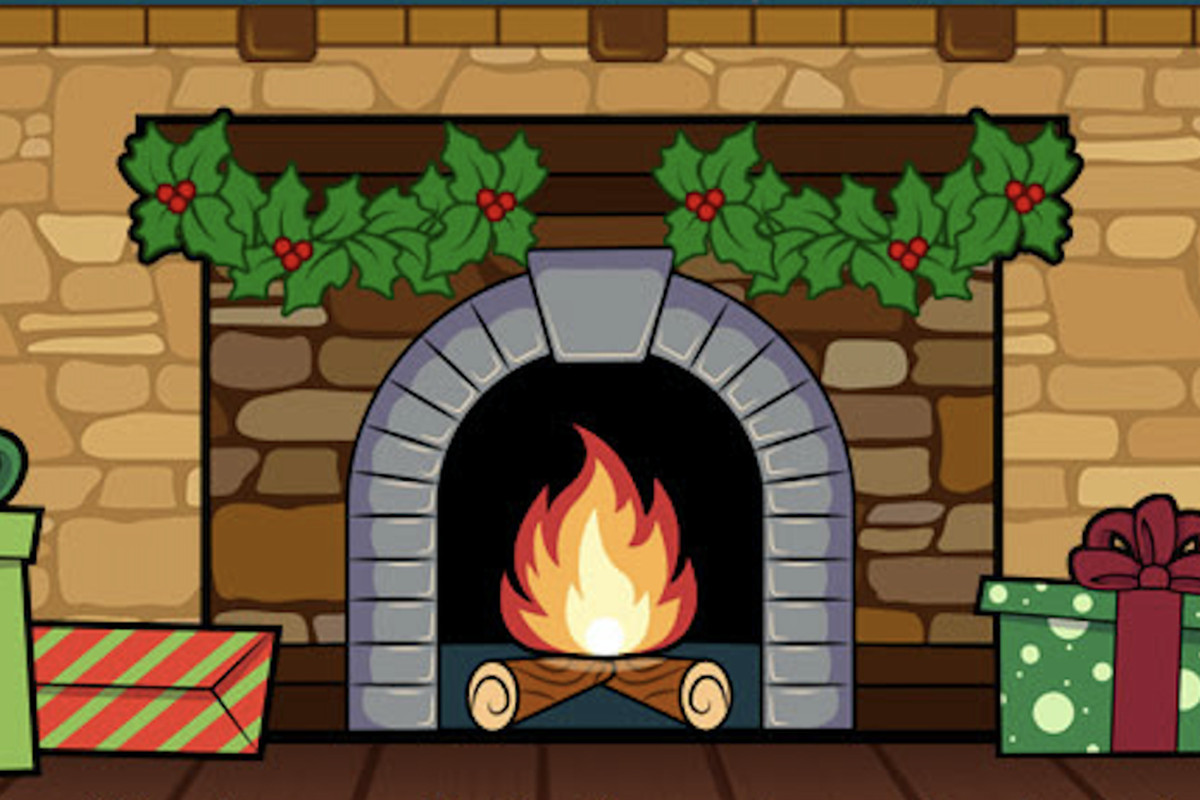 holiday fireplace artwork