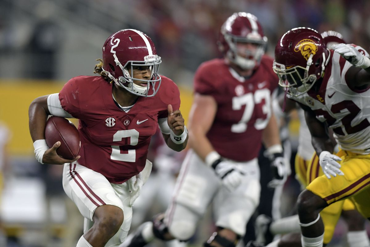 Jalen Hurts and Jonah Williams (73) saw extensive action versus Southern Cal.