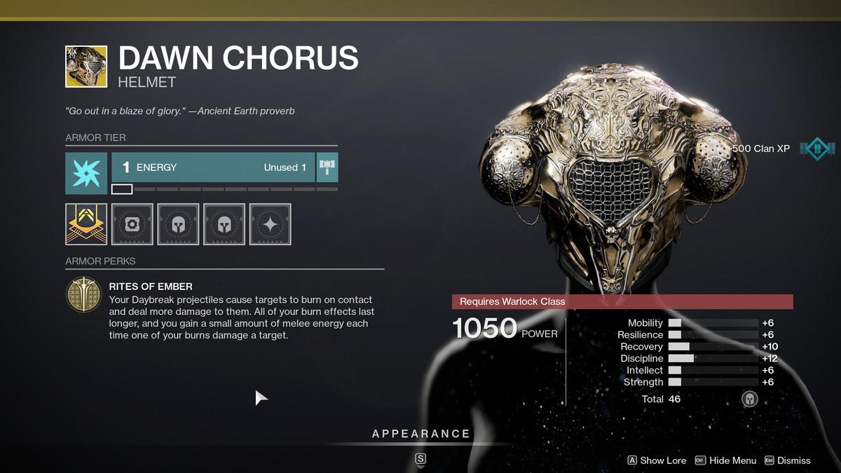 Dawn Chorus Exotic armor in Destiny 2