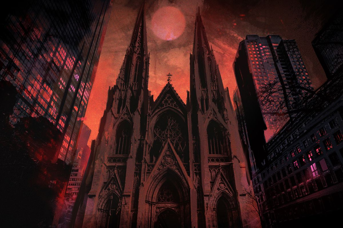 artwork of St. Patrick's Cathedral in New York City colored blood red